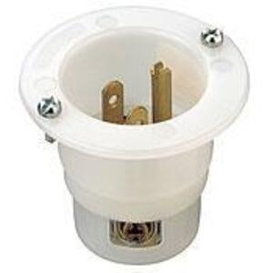 Leviton 5278-C 15 Amp Flanged Inlet, 125V, 5-15P, Nylon, White