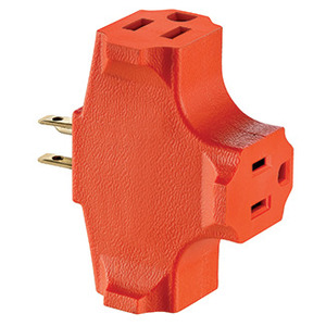 Leviton 694 15 Amp NEMA 5-15, 3-Outlet Adapter, Orange