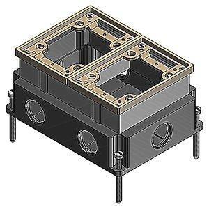 """Steel City 642-1 Rectangular Floor Box, 2-Gang, Depth: 3-5/8"""", 1"""" Hubs, Cast Iron"""