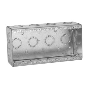 "Hubbell-Raco 693 Masonry Box, 4-Gang, 2-1/2"" Deep, 1/2 "" & 3/4"" KOs, Metallic"