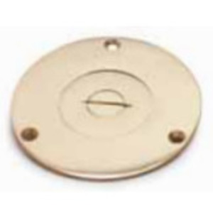 """Lew 524 4"""" BRASS ROUND COVER, SINGLE RECEPTACLE"""