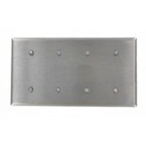 Leviton 84057-40 Blank Wallplate, 4-Gang, 302 Stainless Steel, Standard, Strap Mnt