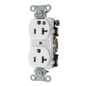 Hubbell-Kellems 8300WHI Hospital Grade Duplex Receptacle, 20A, 125V, 5-20R, White