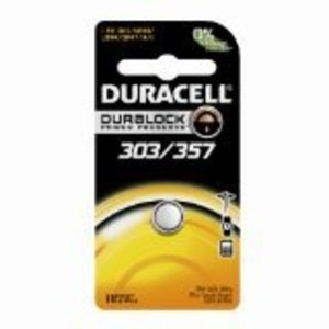 Duracell D303/357PK Battery, 1.55V, D303/357, Silver Oxide, Button Cell