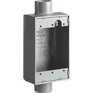 """Hubbell-Killark FSC-2M FS Device Box, 1-Gang, Dead-End, Type FSC, 3/4"""", Malleable Iron"""