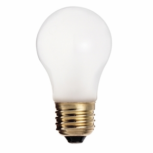 Satco S4880 Incandescent Bulb, Shatter Proof, A15, 25W, 130V, Frosted
