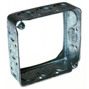 "Hubbell-Raco 201 4"" Square Extension Ring, 1-1/2"" Deep, Drawn, Metallic"