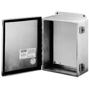 "Hoffman A1008CHAL Junction Box, Type 12, Hinge Cover, 10"" x 8"" x 4"", Aluminum"