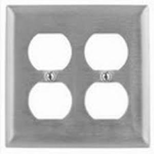 Hubbell-Kellems SS82L Duplex Receptacle Wallplate, 2-Gang, Stainless Steel,