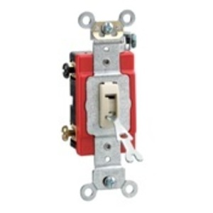 Leviton 1222-2IL Double-Pole Locking Toggle Switch, 20A, 120/277V, Ivory, Industrial
