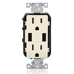 Leviton T5632-T Receptacle / USB Charger Combo, 15A, Light Almond