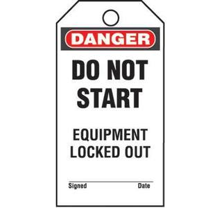 Panduit PVT-156-Q Plastic Tag, 'Danger Do Not Start Equipm