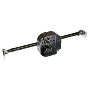 """Hubbell-Raco 325 4"""" Octagon Box w/Hanger, 1-1/2"""" Deep, AC/MC Clamps, KOs, Metallic"""