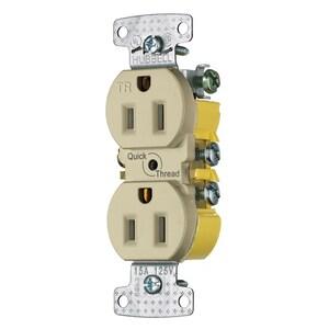 Hubbell-Wiring Kellems RR15QITR RCPT, DUP, TR, 15A 125V, QCK-PLT, IV