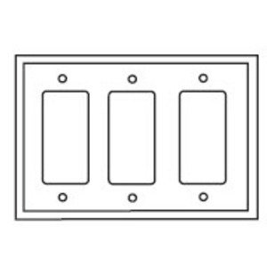 Eaton Wiring Devices PJ263W Decora Wallplate, 3-Gang, Plastic, White, Midsize