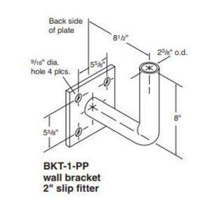 """Holophane BKT1GR Wall Bracket, 2"""" Slip Fitter, Painted, Gray"""