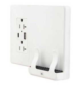 Hubbell-Wiring Kellems USB2028AC Wireless Phone Charger w/ 20A Duplex Receptacle & USB Outlets, White