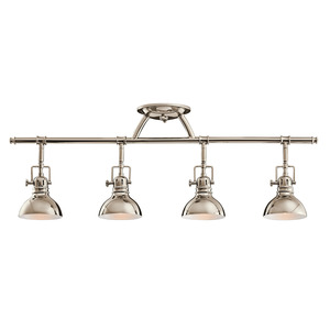 Kichler 7704PN 4 Light Halogen Fixed Rail Fixture, 50W, 120V, Polished Nickel