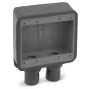 "Ocal FDS222-G FD Device Box, 2-Gang, Dead-End, 3/4"", Iron/PVC Coated"