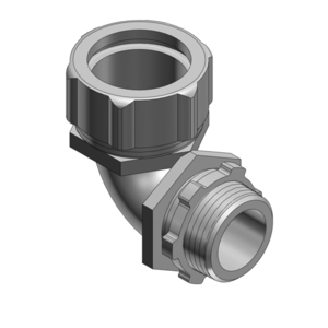 "Thomas & Betts 5256AL Liquidtight Connector, 90°, Size, 1-1/2"", Material: Aluminum"