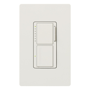 Lutron MA-L3S25-SW Incandescent/Halogen Dual Dimmer and Switch, Snow