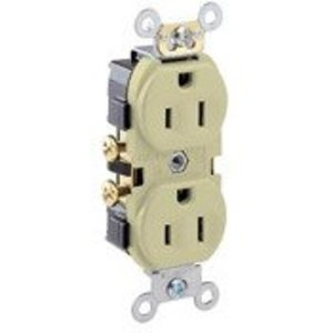 Leviton CR15-I 15 Amp Duplex Receptacle, 125V, 5-15R, Ivory, Comm Grade, Side Wire