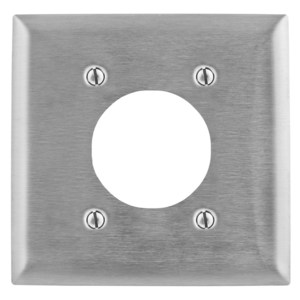 "Hubbell-Bryant SS703 Power Outlet Wallplate, 2-Gang, 2.15"" Hole, Stainless Steel"