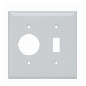 Pass & Seymour SP17-W Wallplate, 2-Gang, Toggle/Single Receptacle, Thermoset, White