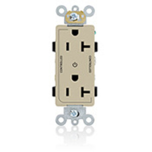 Leviton 16352-2PI 20A Decora Duplex Receptacle, 125V, 5-20R, Ivory, Back and Side Wired, 2P Controlled