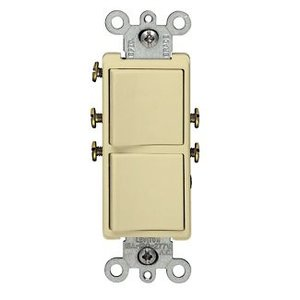 Leviton 5627-I Combination Decora Rocker Switch, (2) Switches, 20A, Ivory