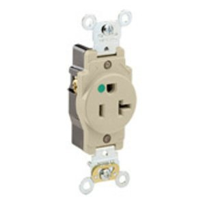 Leviton 8310-I Hospital Grade Single Receptacle, 20A, 125V, Ivory, 5-20R