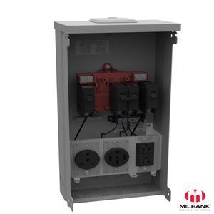 Milbank U5000-XL-75 Power Supply, Unmetered, 125A, 240VAC, 1PH, 3 Breakers, 3 Receptacles