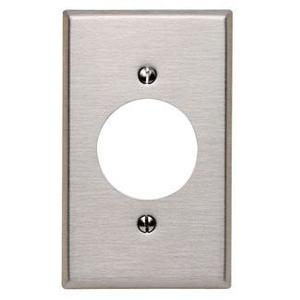 "Leviton 84028 1-Gang Single Rcpt Wallplate, (1) 2.150"" Hole, 430 S. Steel"