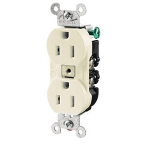 Hubbell-Kellems CR20I Duplex Receptacle, 20A, 125V, Ivory, 5-20R