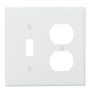 Leviton PJ18-W Combo Wallplate, 2-Gang, Toggle/Duplex, Nylon, White,  Midway