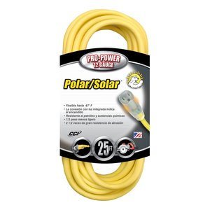 Coleman Cable 1687SW0002 Lighted Extension Cord, SJTW, 12/3 AWG, Yellow, 25', Outdoor