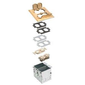 "Arlington FLB5552MB Floor Box Kit with Brass Cover, 2-Gang, (4) Flip Lids, Depth: 3.764"""