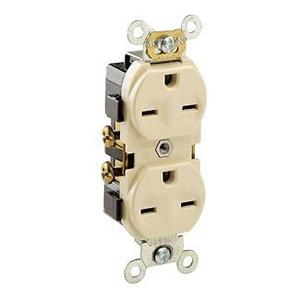 Leviton 5028-I 15 Amp Duplex Receptacle, 250V, 6-15R, Ivory, Commercial Spec Grade