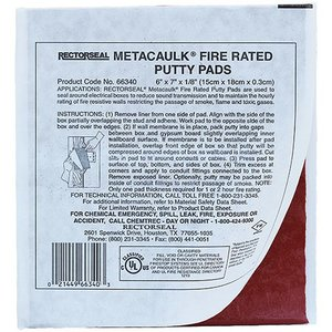 "Dottie FRP67 6 X 7 X 1/8"" Fire Rated Putty Pads"