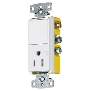 Hubbell-Wiring Kellems RCD108WTR COMBO DEC, 15A SP&15A125V RCPT TR, WH