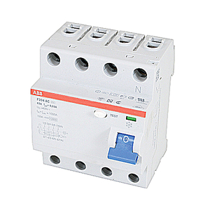 ABB F204AC-63/0.03 Breaker, DIN Rail Mount, Ground Fault, Residual Current, 30mA, 63A