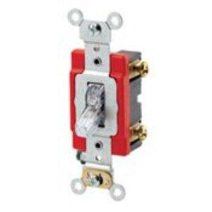 Leviton 1221-7PC Single-Pole Pilot Light Toggle Switch, 20A, 277V, Clear, LIT WHEN ON