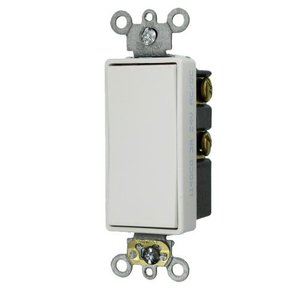 Leviton 56081-2W Momentary Decora Switch, 1P, Double Throw, Center OFF, 3A, 24V, White
