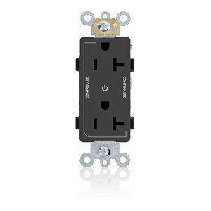 Leviton 16352-2PE 20A Decora Duplex Receptacle, 125V, 5-20R, Black, Back and Side Wired, 2P Controlled