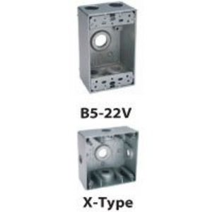 "BWF B5-22V Weatherproof Outlet Box, 1-Gang, 2"" Deep, (5) 1/2"" Hubs, Aluminum"