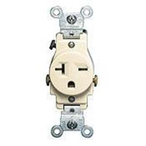Leviton 5821-T Single Receptacle, 20A, 250V, 6-20R, Light Almond, Side Wired