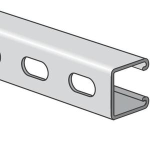 Power-Strut PS200EH-20PG Channel - Elongated Holes, Steel, Pre-Galvanized, 1-5/8 x 1-5/8 x 20