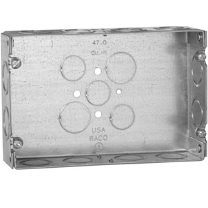 "Hubbell-Raco 951 Gang Box, 2-Gang, 1-5/8 Deep, 1/2"" and 3/4"" KOs, Welded, Steel"