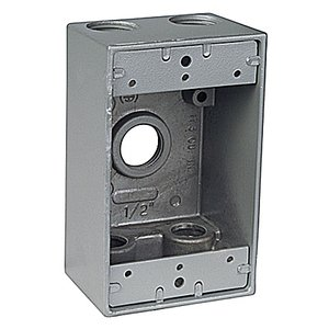 "Red Dot IH5-2 Weatherproof Outlet Box, 1-Gang, 2"" Deep, (5) 3/4"" Hubs, Aluminum"