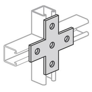 Power-Strut PSUB-5-EG Cross Plate, 5-Hole, Steel/Electro-Galvanized